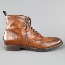 TO BOOT NY Size 12 Tan Antique Leather Wingtip Ankle Boots