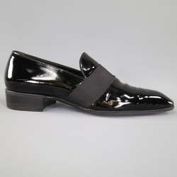 TOM FORD Size 9 Black Patent Leather Ribbon Band Tuxedo Loafers