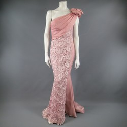 TONY WARD Spring 2011 Size 8 Pink Lace Ruched Bodice Shoulder Rufle Evening Gown