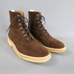 TRICKER'S Size 12.5 Brown Suede Crepe Sole Boots