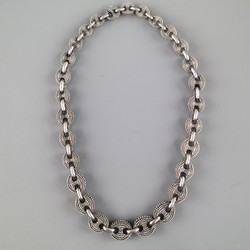 UGO CACCIATORI Sterling Silver Thick Textured Chainlink Necklace