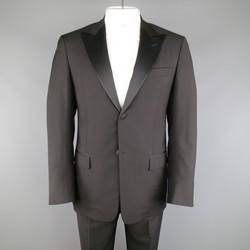 VALENTINO 40 Regular Black Wool & Satin Peak Lapel 2 Button Tuxedo
