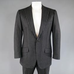 VALENTINO 42 Regular Black Chalkstripe Wool 34 30 Peak Lapel Suit