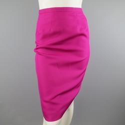 VALENTINO Size 4 Fuchsia Silk Textured Taffeta Pencil Skirt