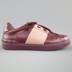 VALENTINO Size 7.5 Burgundy & Mauve Two Toned Leather Rockstud Sneakers