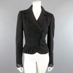 VALENTINO Size 8 Black Wool & Draped Ruffle Lace Wrap Jacket