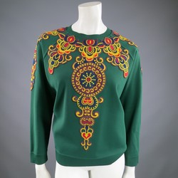 VALENTINO Size L Green Viscose Blend Embroidered Collar  Pullover
