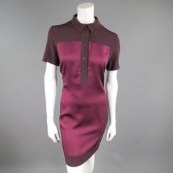 VICTORIA BECKHAM Size 10 Purple & Red Color Block Shirt Dress