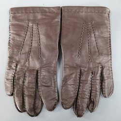 VINTAGE Size M Deep Chocolate Brown Leather Top Stitching Gloves