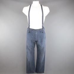 VISVIM Size 32 Navy Washed Cotton Pastoral Braces Suspender Pants