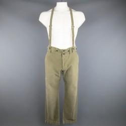 VISVIM Size 32 Olive Washed Cotton Pastoral Braces Suspender Pants