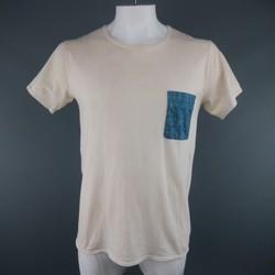VISVIM Size L Beige Cotton Blue Linen Patch Pocket T-shirt