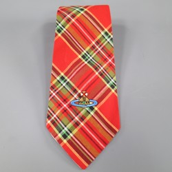 VIVIENNE WESTWOOD Red Plaid Cotton Saturn Oversized Tie