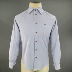 VIVIENNE WESTWOOD Size S Blue & White Striped Cotton Long Sleeve Shirt