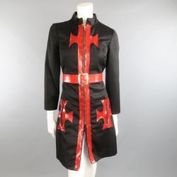 Vintage 1970s OSCAR DE LA RENTA Size S Black Red Patent Leather Trim Coat