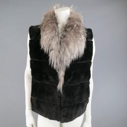 Vintage ANDRIANA FURS Size M Black Mink Silver Fox Collar Fur Vest