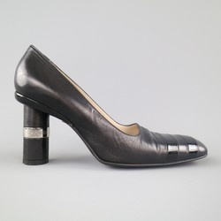 Vintage CHANEL Size 8.5 Black Leather Silver Logo Round Heel Pumps