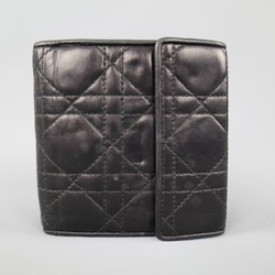 Vintage CHRISTIAN DIOR Black Cannage Quilted Leather Bifild Wallet