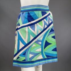 Vintage EMILIO PUCCI Size XS Blue Navy & Teal Print Cotton Skirt
