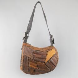 Vintage FENDI Wood Embellished Tiger Print Oyster Shoulder bag