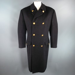 Vintage GIANNI VERSACE 40 Charcoal Textured Wool Gold Medusa Button Pea Coat