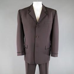 Vintage GIANNI VERSACE 46 Muted Eggplant Wool Black Crystal Beaded Trim Suit