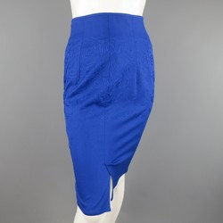 Vintage GIANNI VERSACE Size 4 Blue Embroidered Wool Pencil Skirt