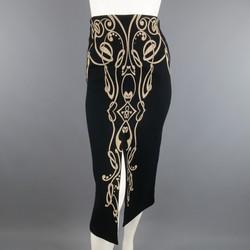 Vintage GIANNI VERSACE Size 6 Black & Beige Art Deco Print Wool Pencil Skirt