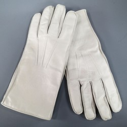 Vintage GIANNI VERSACE Size M Ivory Medusa Embossed Leather Gloves