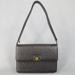 Vintage GUCCI Black Ostrich Leather Gold Crest Shoulder Bag