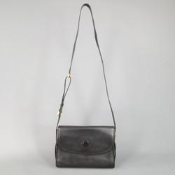 Vintage GUCCI Black Pebbled Leather Gold Buckle Shoulder Strap Handbag