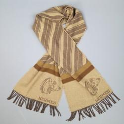 Vintage HERMES Brown & Beige Wool / Cashmere Striped Dachshund Scarf