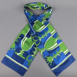 Vintage HERMES Navy & Green Chess Pieces Print Silk Ascot