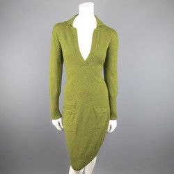 Vintage HERMES Size 10 Olive Cashmere Long Sleeve Collar Dress