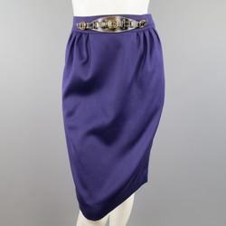Vintage HERMES Size 4 Purple Wool Leather Belt Front Pencil Skirt