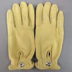 Vintage HERMES Size 7 1/2 Beige Leather Silver Snap Closure Gloves