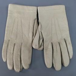 Vintage HERMES Size 7 1/2 Ivory Textured Leather Gloves