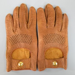 Vintage HERMES Size 8 Light Tan Brown Textured Leather Gold Snap Gloves