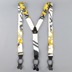 Vintage HERMES White Black & Gold Silk Ornate Print Braces Suspenders