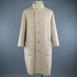 Vintage ISSEY MIYAKE 40 Cream Fuzzy Wool Blend High Collar Coat