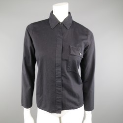 Vintage MAISON MARTIN MARGIELA 6 Black Cotton Hidden Placket Tight Fit Shirt