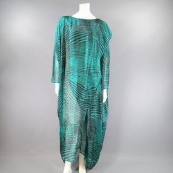Vintage MISSONI Size M Teal & Black Striped Silk Blend Wrap Caftan Dress