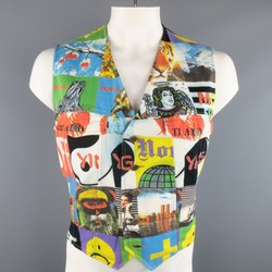Vintage MOSCHINO 42 Multi Media Photo Print Cotton Denim Vest
