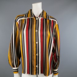 Vintage SAINT LAURENT RIve Gauche Size 8 Gold & Red Striped Silk Blouse