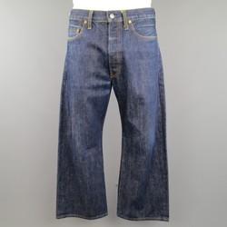 Vintage YOHJI YAMAMOTO Size 34 Indigo Selvedge Denim Wide Leg Jeans