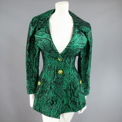 Vintage YVES SAINT LAURENT Size 6 Green Textured Python Print Gold Button Jacket