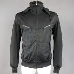 Y-3 42 Black Athletic Mesh Panel Wet Print Hoddie Jacket