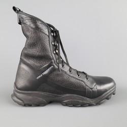 Y-3 YOHJI YAMAMOTO Size 12 Black Leather Tall Combat Boots