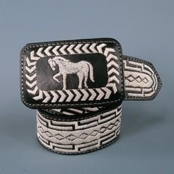 YAC Size 36 Black & White Leather Belt