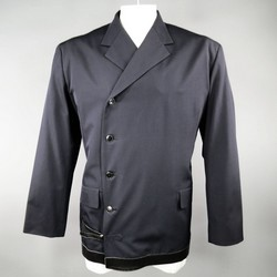 YOHJI YAMAMOTO 40 Navy Wool Asymmetrical Black Leather Details Jacket